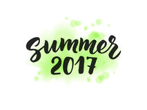 Summer 2017 text, hand drawn brush lettering. Summer label  Royalty Free Stock Images