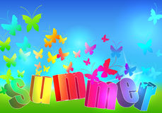 Summer text illustration with butterflies Stock Image