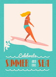 Summer text quote poster with surfer girl on a longboard rides  wave. Beach lifestyle  in retro style. Stock Photography