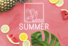 Summer Text Sunglasses Surfboard Palm tree Icon Concept Royalty Free Stock Photo
