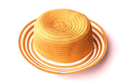 Summer thai straw hat. On white Stock Image