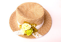 Summer thai straw hat. On white Stock Photos