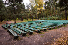 Summer theatre in the autumn Park. Summer theatre in the autumn Park named Sosnovka in St. Petersburg, Russia royalty free stock photo