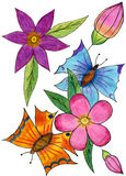 Summer theme. Postcard - butterfly, flowers. Pink, red, orange, green - rainbow Stock Images