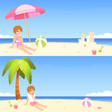 Summer theme banners with cute girl on beach Stock Image
