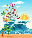 Summer theme with big waves and sunshine Royalty Free Stock Photography