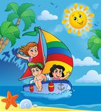 Summer theme with children on ship Royalty Free Stock Photography