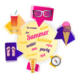 Summer theme. Circle with signs and bubbles with the theme of summer. There are ice cream, sunglasses, drink, Flip Flops, suntan cream and compass. I used free Royalty Free Stock Photos