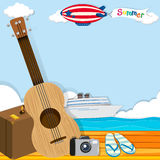 Summer theme with cruise and travel objects Stock Photography
