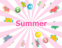 Summer theme with floral over bright multicolored background Royalty Free Stock Image