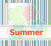 Summer theme with floral over bright multicolored background, summer flowers Royalty Free Stock Image