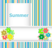 Summer theme with floral over bright multicolored background, summer flowers, holiday card Royalty Free Stock Photo