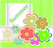Summer theme with floral over bright multicolored background, summer flowers, holiday card Stock Photography
