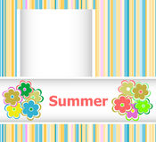Summer theme with floral over bright multicolored background, summer flowers, holiday card Stock Photo