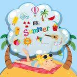 Summer theme with girl on the beach Stock Photos