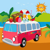 Summer theme with luggages on van Stock Photography