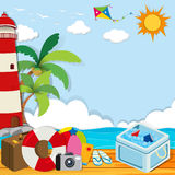 Summer theme with objects on the beach Stock Images