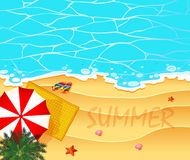 Summer theme with ocean and beach background royalty free illustration