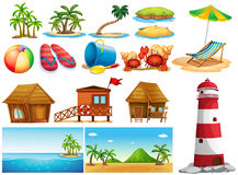 Summer theme with ocean and buildings. Illustration Royalty Free Stock Photo
