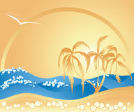 Summer Theme with Palm Trees Royalty Free Stock Photos
