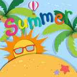 Summer theme with sand and sun Royalty Free Stock Photo
