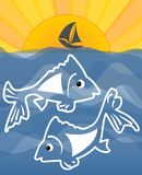 Summer theme with sea, fish cartoon, sun and small ship silhouette on horizont, vector concept for fishing sport, fish restaurant Royalty Free Stock Images