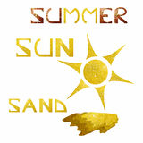 Summer theme with sparkling golden sun and sand. Summer, sun and sand text/words made of sparkling golden pattern royalty free illustration