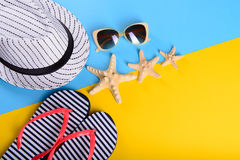 Summer clothes and starfish stock images
