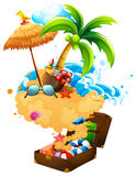 Summer theme with suitcase and beach Stock Images