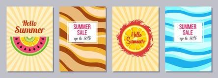 Summer theme templates A6 size. stock illustration