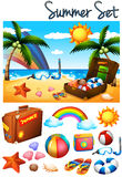 Summer theme with toys on the beach Stock Images