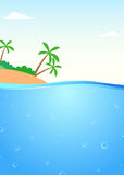 Summer themed tropical island and underwater scene Royalty Free Stock Photos