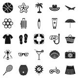 Summer things icons set, simple style. Summer things icons set. Simple set of 25 summer things vector icons for web isolated on white background Stock Photo