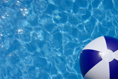 Summer Thoughts. Pool shot in color with beach ball, bright blue. Perfect for text insertion about summer, pool parties, or vacation, or a resort brochure or ad stock photo