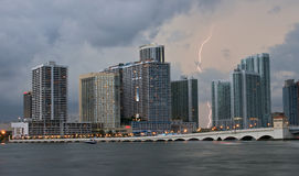 Summer Thunderstorm. Over Biscayne Bay in Miami, Florida, USA Stock Photo