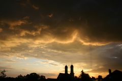 Summer, Thunderstorm, Clouds, Dusk Stock Photography