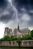 During a summer thunderstorm lightning strikes directly at Notre Royalty Free Stock Image
