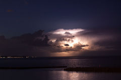 A Summer Thunderstorm Over Lake Michigan Off the Coast of Milwaukee Royalty Free Stock Image