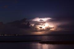 A Summer Thunderstorm Over Lake Michigan Off the Coast of Milwaukee. Lightning Illuminates A Thunderstorm Over Lake Michigan Off the Coast of Milwaukee Royalty Free Stock Image