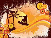 Summer time. Illustration of a surfer on an abstract summer background Stock Photography