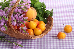 Summer time!. Beautiful basket with wild flowers and fruits at the violet tablecloth stock photo