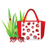 Summer time. Still life with sunglasses, bag and fresh green grass stock illustration