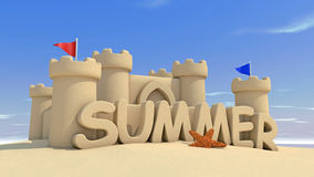 Summer time. Sand citadel on the beach Stock Photo