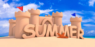 Summer time. Sand citadel on the beach Royalty Free Stock Images