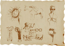 Summer time. Hand drawn picture, summer time collection Stock Photos
