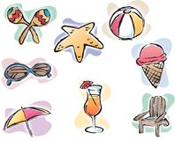 Summer Time. Beach Elements Vector Icon Set Stock Photo
