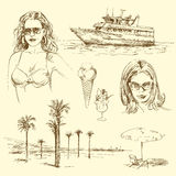 Summer time. Hand drawn collection Royalty Free Stock Image