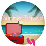 Summer time. /Summer beach scene with suitcase,bikini and flip-flops Royalty Free Stock Photo