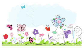 Summer time abstract colorful doodle flowers vector background Royalty Free Stock Photos