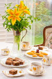 Summer time afternoon tea table. Stock Image
